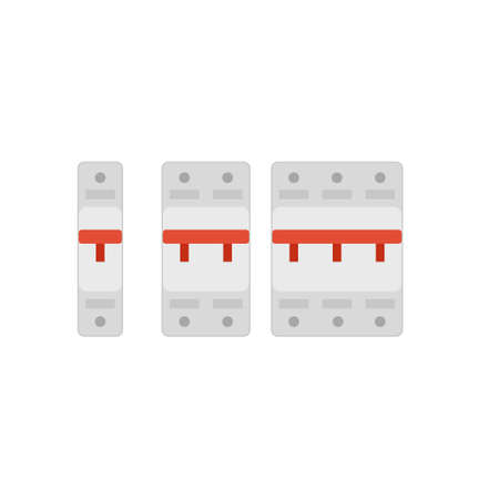 Circuit breakers switch icon set Illustration