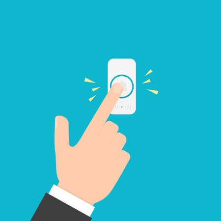 Ręcznie naciskając przycisk dzwonka Ilustracje wektorowe