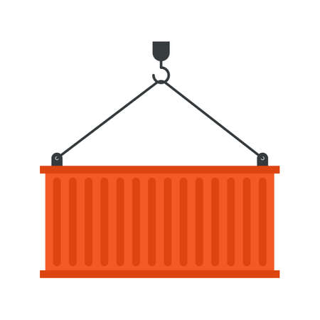 Metal cargo container hanging on chain