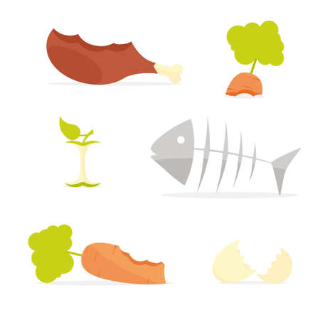 Recycling garbage organic food trash icon set Illustration