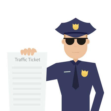 agent de patrouille routière tient un billet de circulation