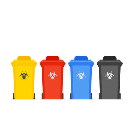 Medical waste bin icon set