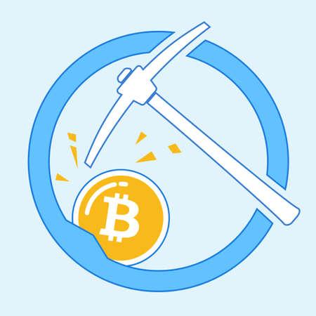 Bitcoin mining concept with pickaxe Vettoriali
