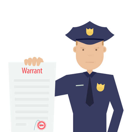 police officer holding arrest warrant Ilustrace