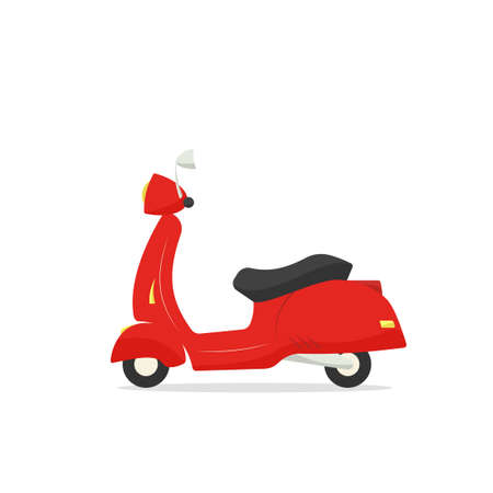 Retro red scooter motorcycle