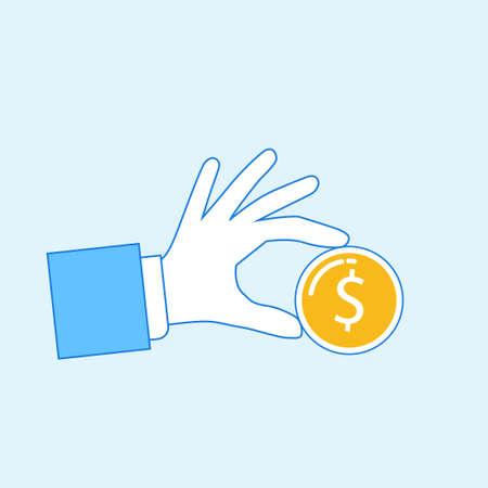 Hand holding dollar coin Illustration