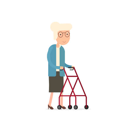 Old woman walking with rollator.
