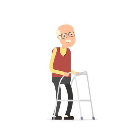 Oude man lopen met zimmer frame. Vector Illustratie