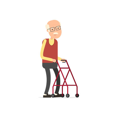 Old man walking with rollator. Banco de Imagens - 100712237