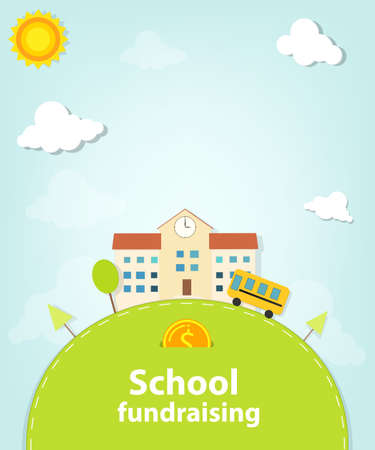 school fundraising poster isolated on a blue sky background