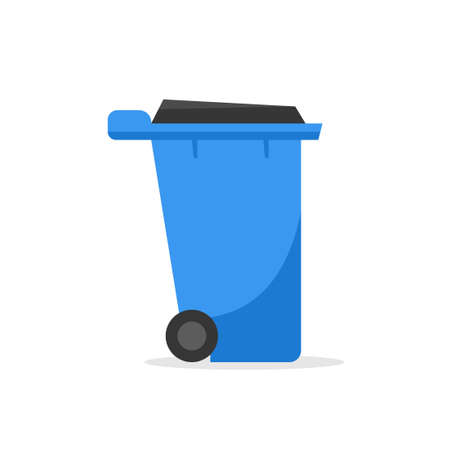 Plastic wheelie refuse waste bin isolated on a white background Vectores