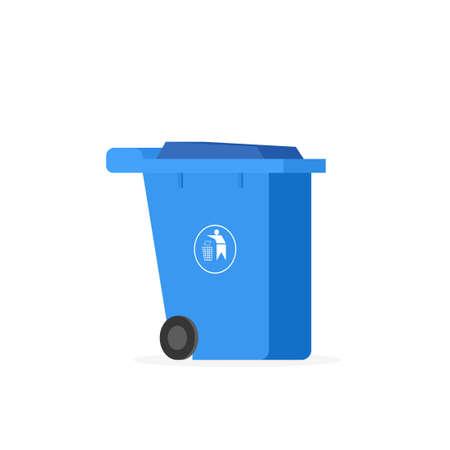 Plastic wheelie refuse waste bin isolated on a white background Illustration