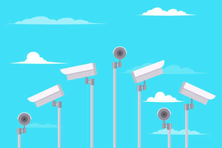 Outside security cameras isolated on a blue sky background Illustration
