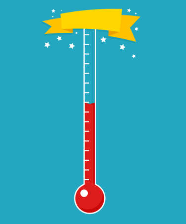 Fundraising thermometer template isolated on a blue background Фото со стока - 104890474