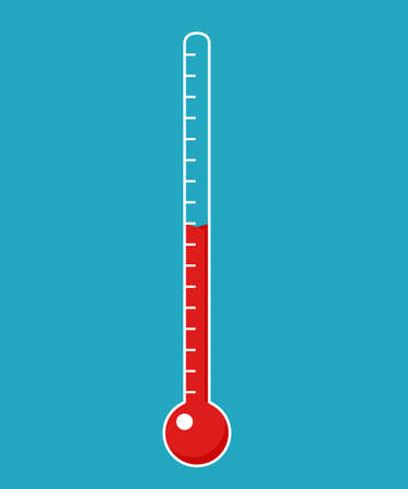 Fundraising thermometer template isolated on a blue background