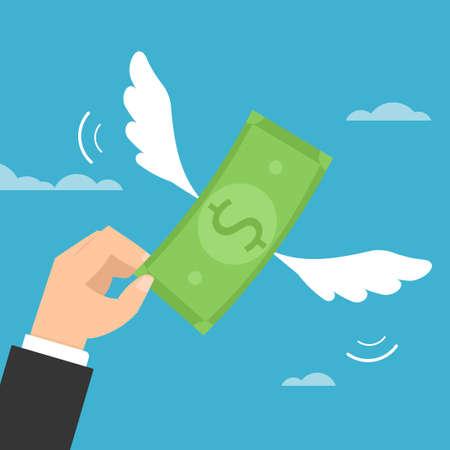 Mano tratando de atrapar dinero en dólares voladores. Ilustración de vector