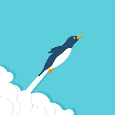 Flying penguin vector