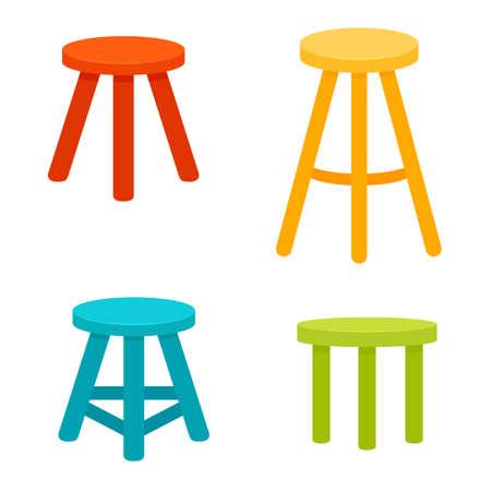 Three legged stool set. Illustration
