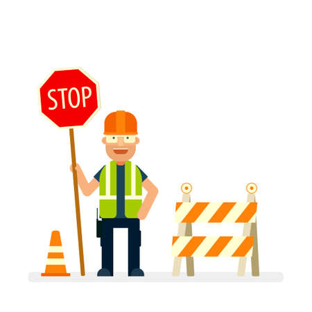 Road worker holding stop sign. Flat character.