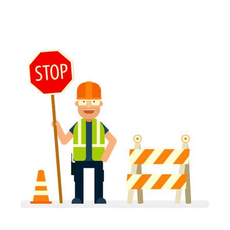 Trabajador de la carretera con señal de stop. Personaje plano.