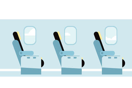 Airplane vector interior. Aircraft indoor cabin chairs seats.
