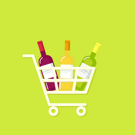 Shopping cart full of wine