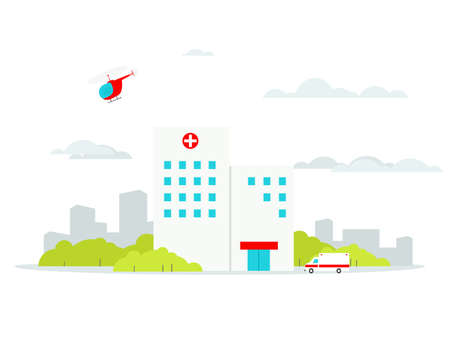 Flat Hospital building with ambulance and helicopter. Vectores