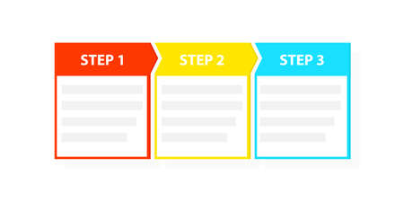 Three 3 easy steps process template Stockfoto - 104537150