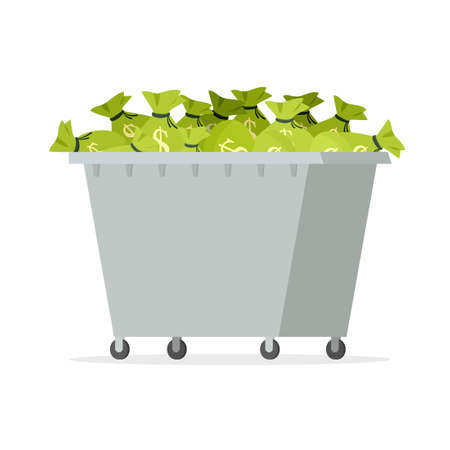 Garbage bin full of money. Stock Vector - 115115373