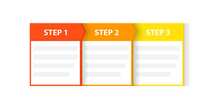 Three 3 easy steps process template Çizim