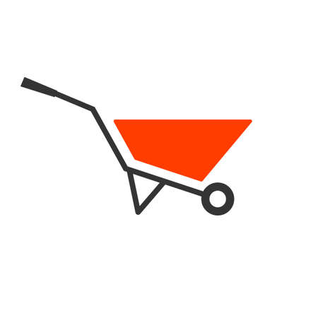 Red wheel barrow icon. Agriculture clip art isolated on white background
