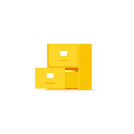 Yellow file cabinet with two drawer. Vector image isolated on white background Illusztráció