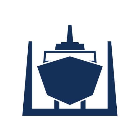 Schip in droogdok pictogram. Clipart afbeelding geïsoleerd op een witte achtergrond