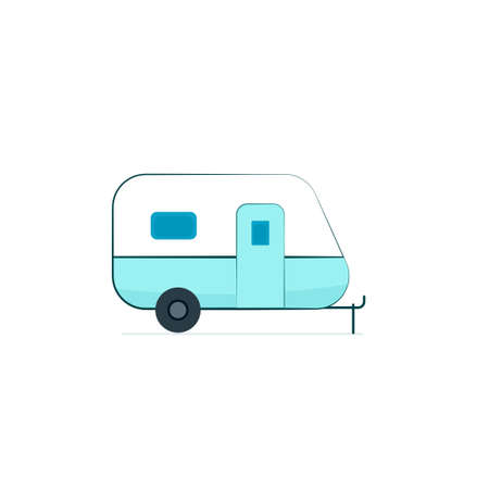 Camper trailer icon. Camping clip art isolated on white background Ilustrace