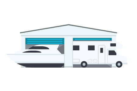 Rw and Boat Storage icon. Clipart image isolated on white background  イラスト・ベクター素材