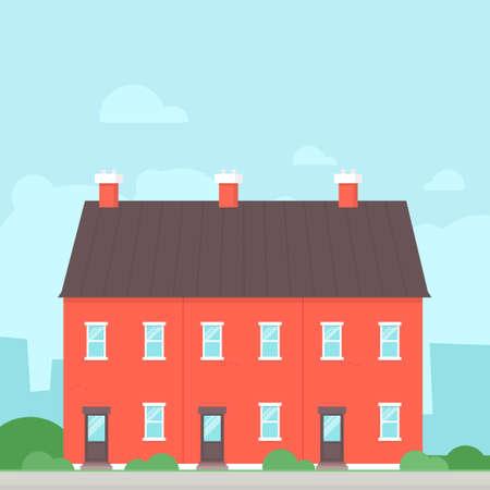 Triplex Detached House. Real estate clipart image Vetores