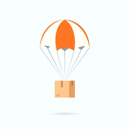 Parachute with box. Delivery clipart isolated on white background
