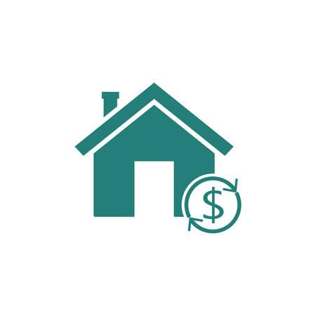 Home Reverse Hypothek Symbol. Finanzclipart lokalisiert auf weißem Hintergrund