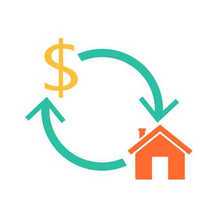 Icono de hipoteca inversa de inicio. Clipart de finanzas aislado sobre fondo blanco Ilustración de vector
