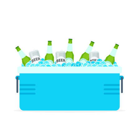 Open cooler box with beer bottles. Picnic clipart isolated on white background Stock Illustratie