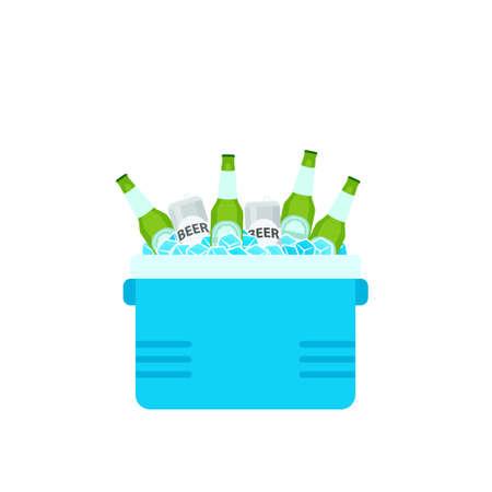 Ouvrez le sac isotherme avec des bouteilles de bière. Clipart de pique-nique isolé sur fond blanc
