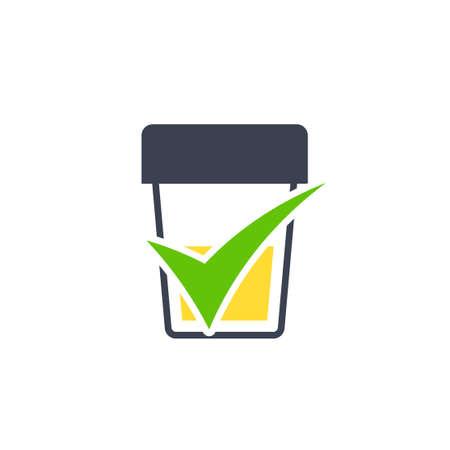 Icona di test delle urine. Clipart medico isolato su sfondo bianco Vettoriali