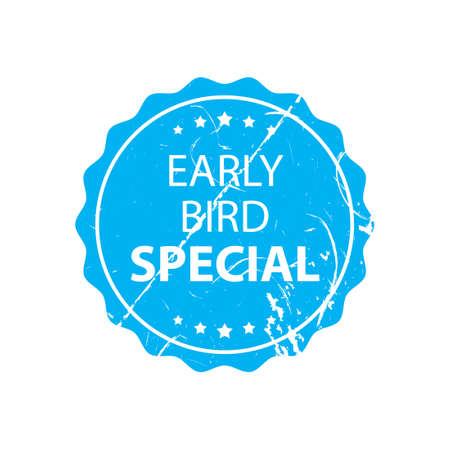Early bird special stamp. Discount clipart isolated on white background Vektoros illusztráció