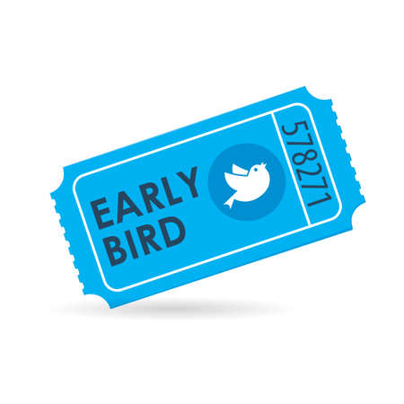 Early bird ticket icon. Discount clipart isolated on white background Illustration