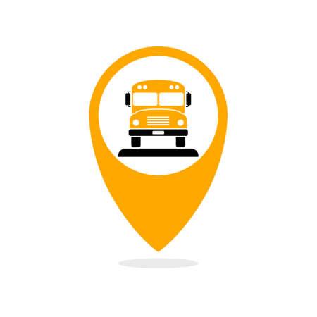 Icono de seguimiento de autobús escolar. Vector de la imagen aislada en el fondo blanco Ilustración de vector
