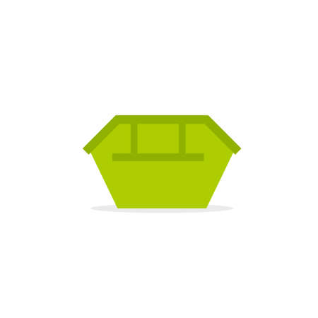 Green waste skip bin icon. Vector image isolated on white background