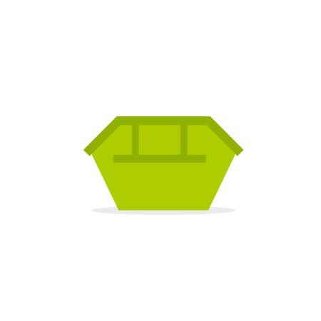 Icône de poubelle verte. Image vectorielle isolée sur fond blanc Vecteurs