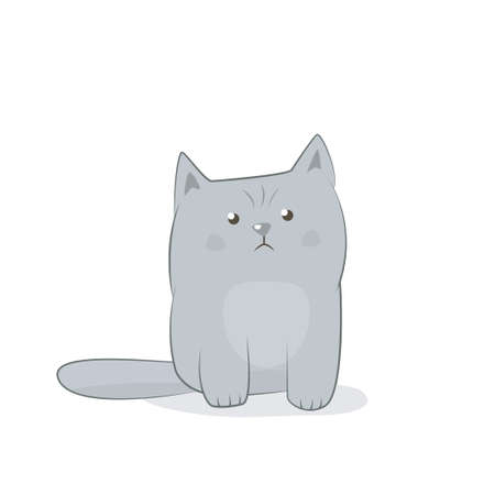 Disgruntled cat icon. Vector illustration isolated on white background
