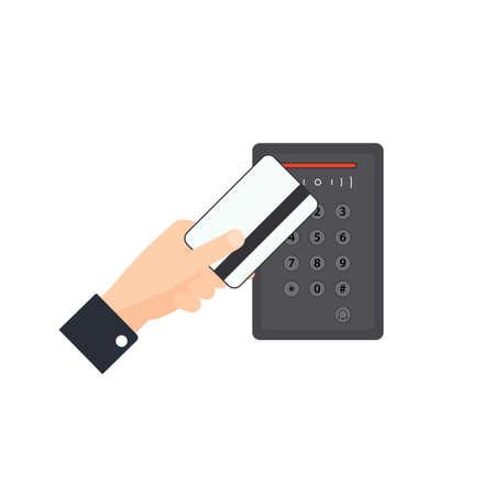 Icono de acceso con tarjeta clave. Imagen vectorial aislada sobre fondo blanco
