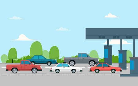 Mautstelle mit Autos. Vektor-Illustration isoliert auf weißem Hintergrund
